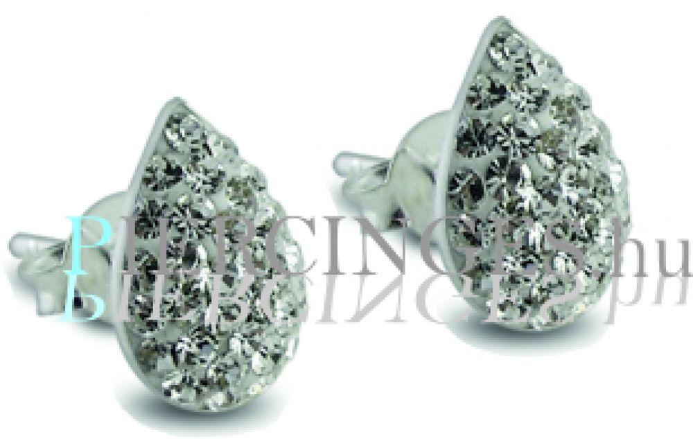 a legjobb hiteles szép cipők előrendelés Csepp ezüst fülbevaló fehér kristályokkal - Piercinges.hu